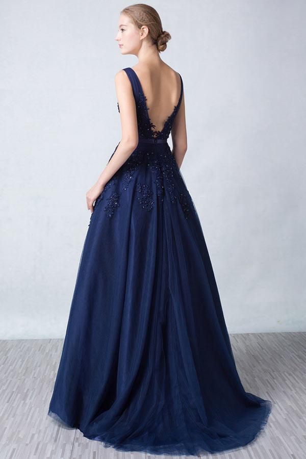 Princesse robe de soirée bleu nuit longue appliquée de dentelle