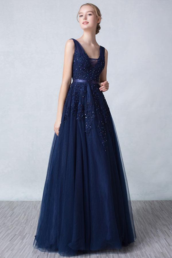 robe de bal bleu nuit princesse col V appliqué de dentelle
