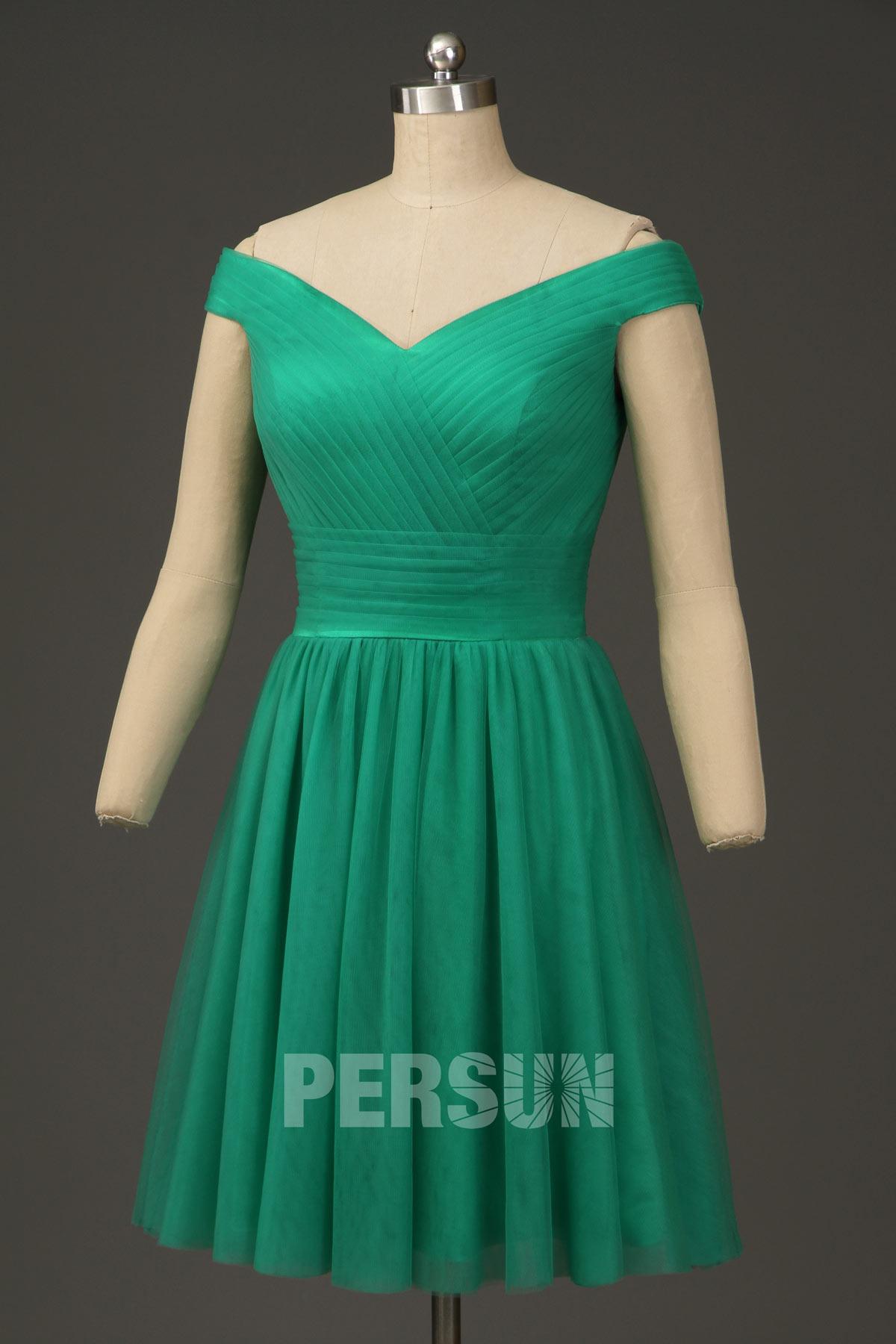 robe de cocktail courte vert épaule dénudée bustier plissé