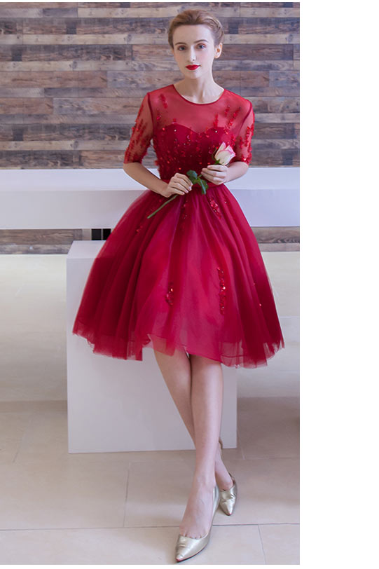 Robe de bal rouge courte à encolure illusion