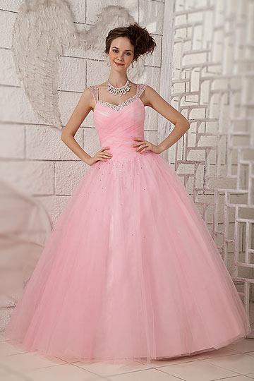 Robe de mariée rose pâle avec bretelles ornées de sequins