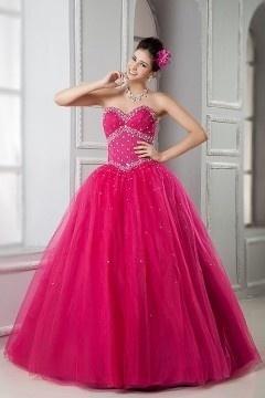 Robe de fête & bal promo fuchsia bustier corsage coupe princesse