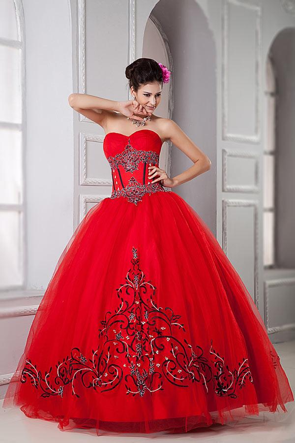 robe de bal rouge princesse bustier coeur motifs vintage & imprimée