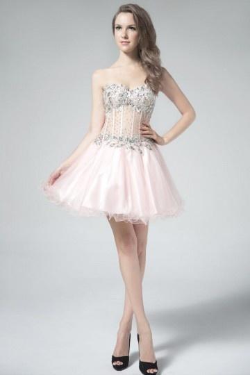 Petite robe rose sexy pour bal bustier coeur floral pailleté