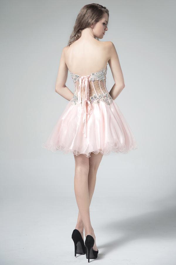 Sexy mini robe de bal rose pâle bustier cœur soutenu des baleines en tulle