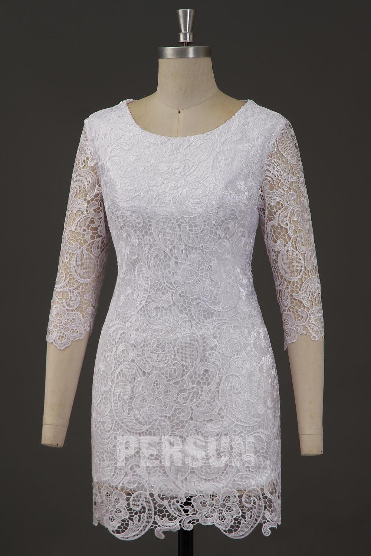 Robe femme fourreau encolure ronde avec manches transparentes en dentelle
