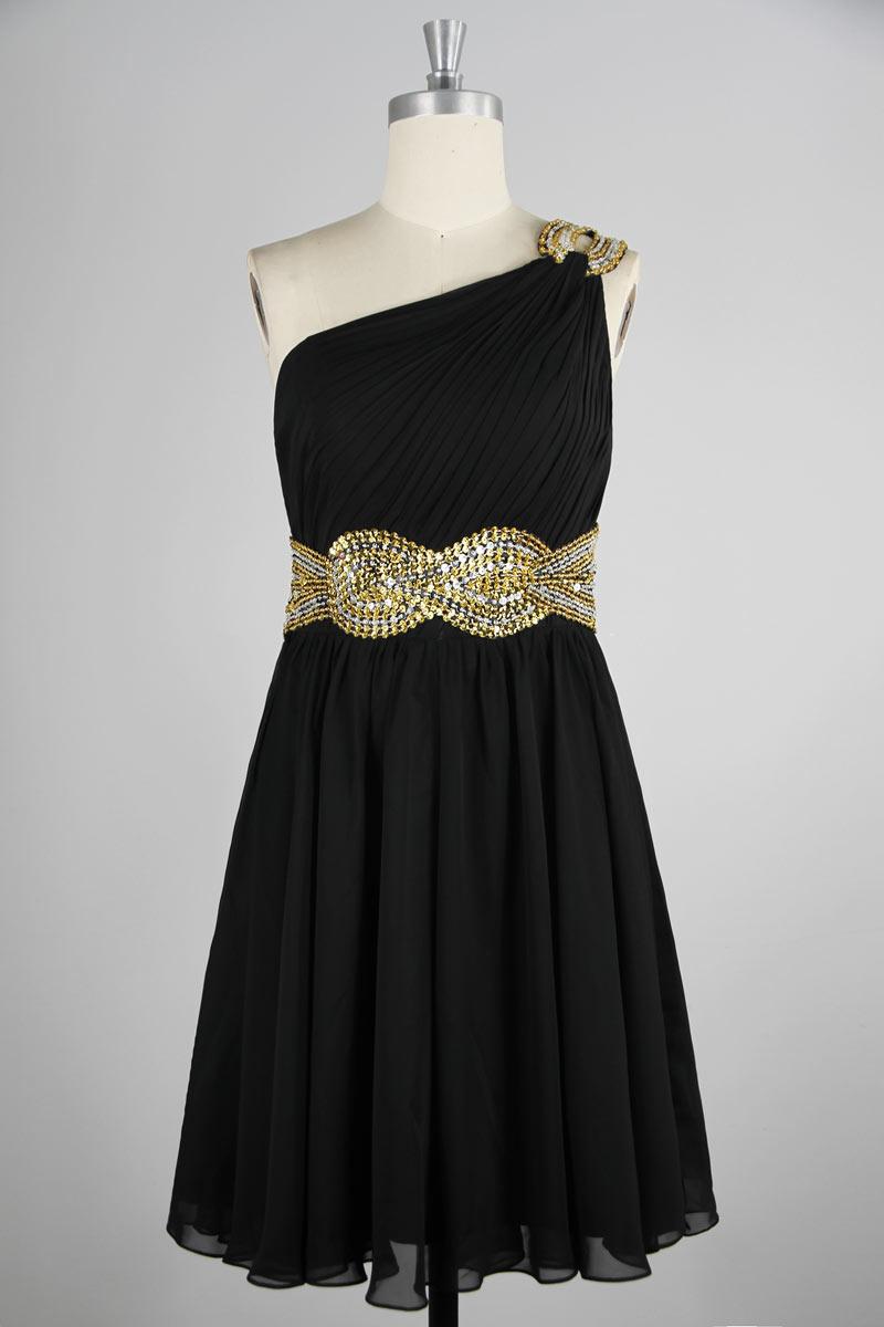 petite robe noire asymétrique bustier plissé taille embelli de sequins