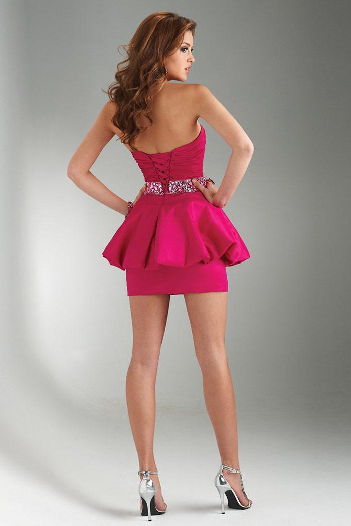 robe rose fuchsia courte dos nu avec laçage