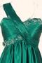 Robe de cocktail ruchée verte à A-ligne à seule épaule