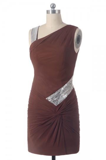 robe demoiselle d'honneur chocolat fourreau courte asymétrique