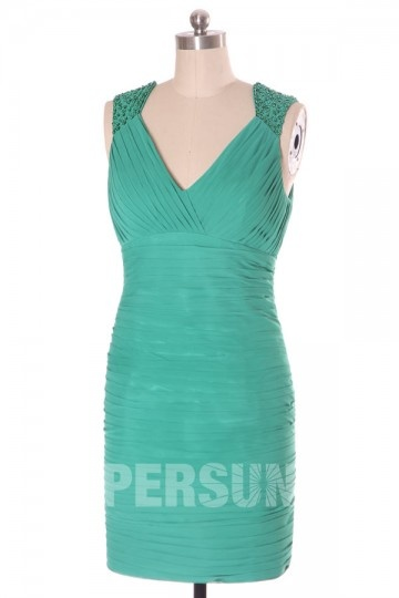 robe de soirée verte émeraude courte fourreau
