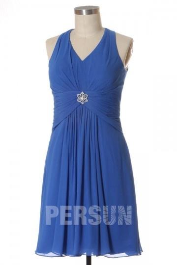 Robe de cocktail bleu azur décolleté V courte au genou