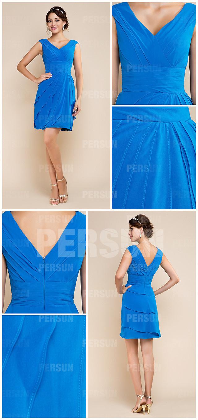 robe de cocktail bleu longue aux genoux