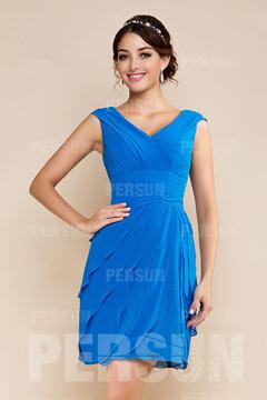 Robe de cocktail bleue royale décolletée en V longue aux genoux ruchée