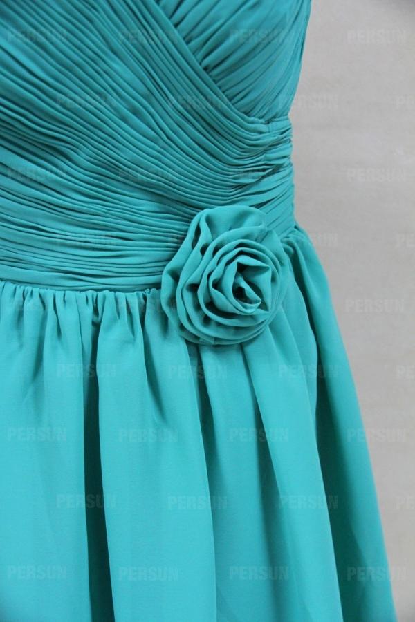 robe courte verte spéciale à fleur
