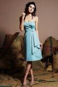 Ruching Sweetheart Blue Taffeta Knee Length A line Formal Dress