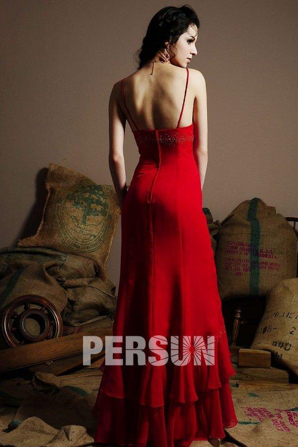 Sexy robe rouge fourreau avec bretelles fines empire à jupe volante