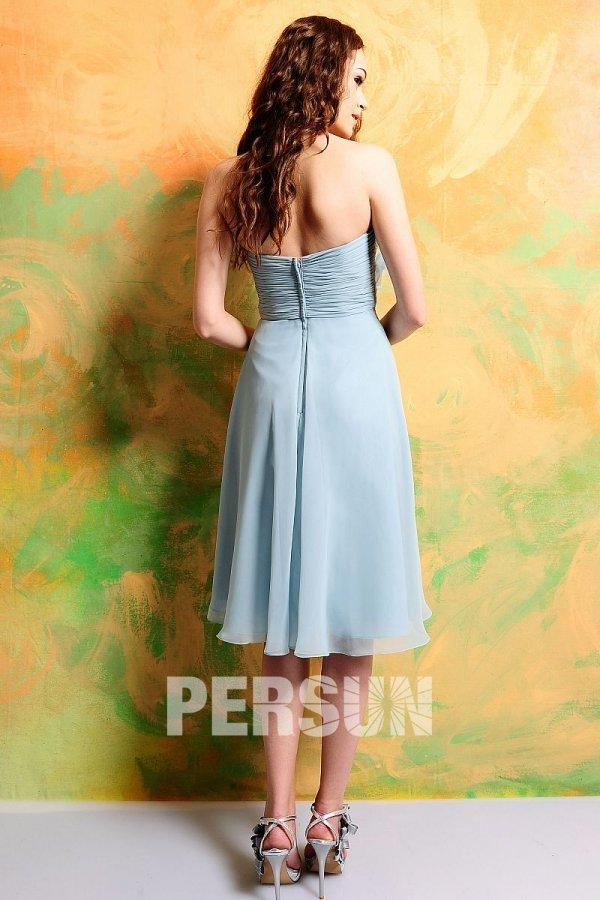 Simple robe bleu passtel pour demoiselle d'honneur courte au genou