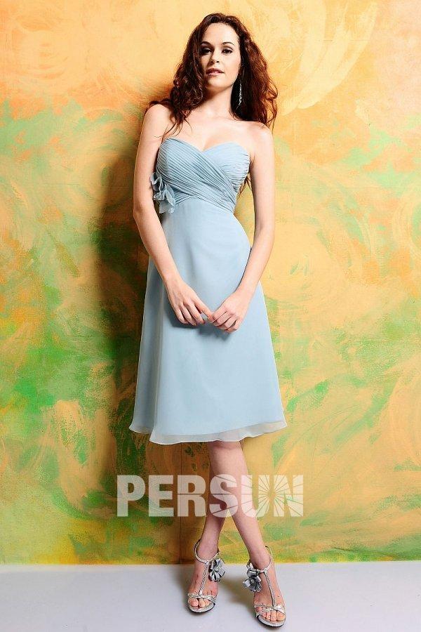 Petite robe bleu cocktail bustier coeur en mousseline