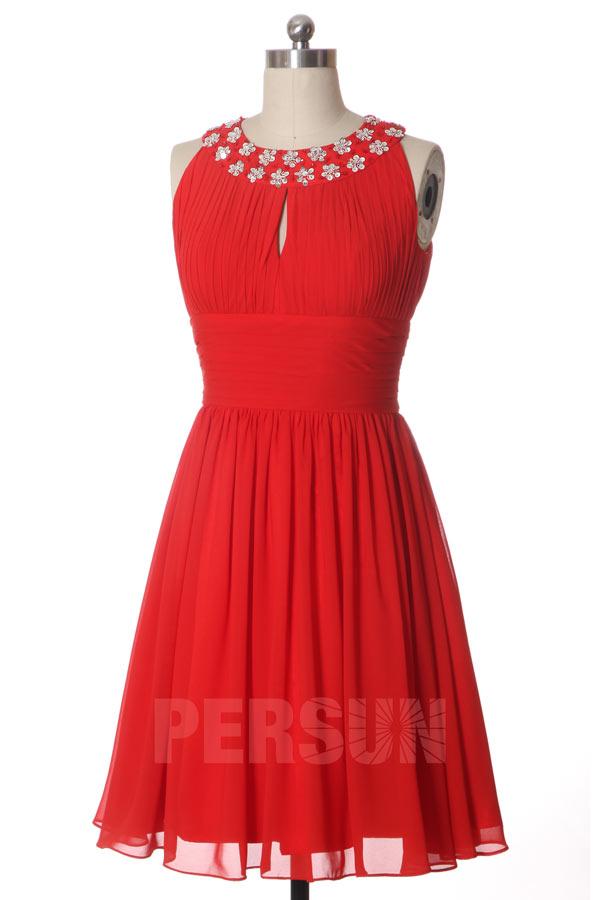 robe rouge chic courte col américain orné de strass pour mariage