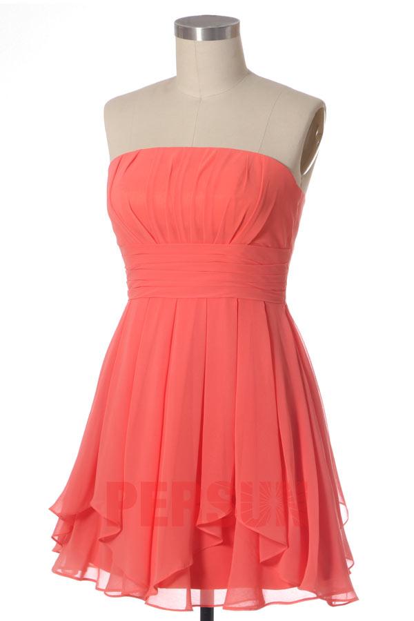 robe de soirée courte corail bustier droit plissé