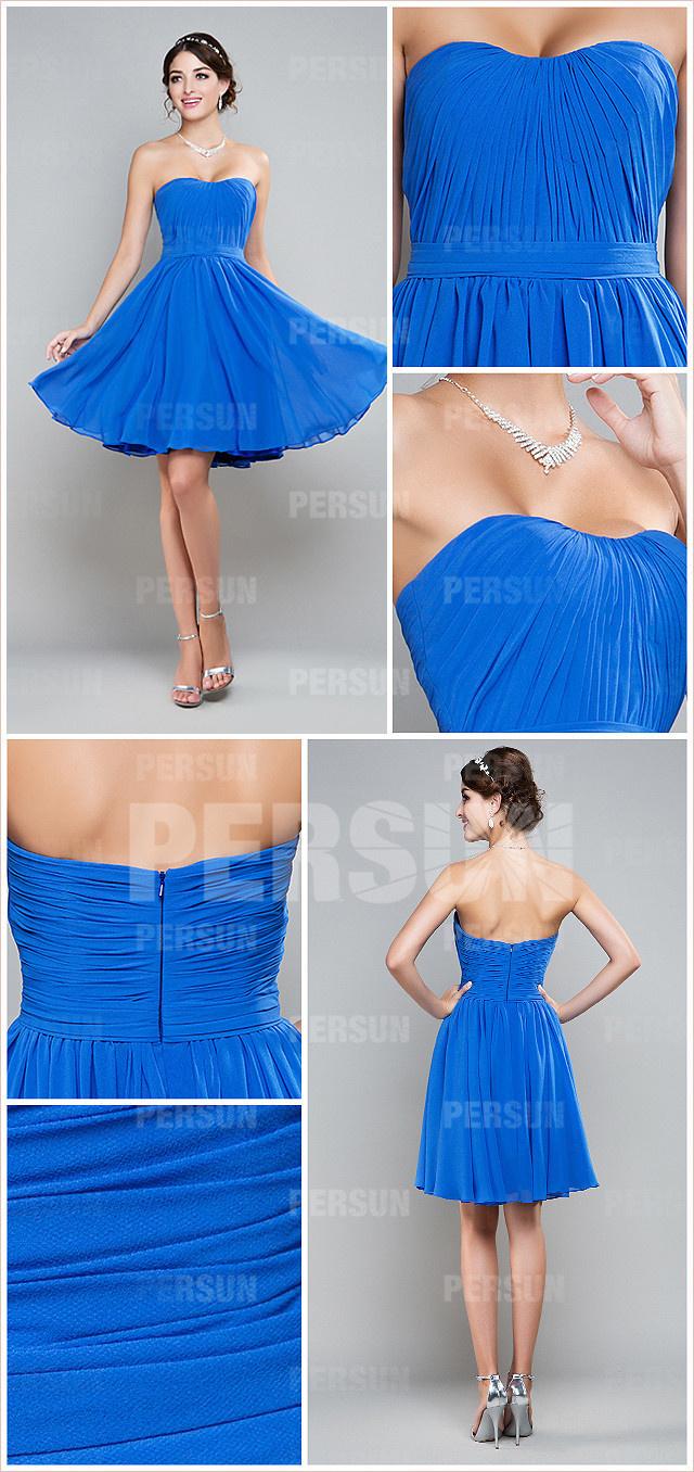 robe de soirée bleu plissé pour demoiselle d'honneur
