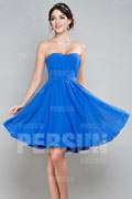 Ruched Sweetheart Short Chiffon A line Formal Dress