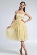 Pleated Sweetheart Knee Length Chiffon A line Prom Dress
