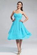 Blaues Knielanges gefaltetes Brautjungfernkleid aus Chiffon