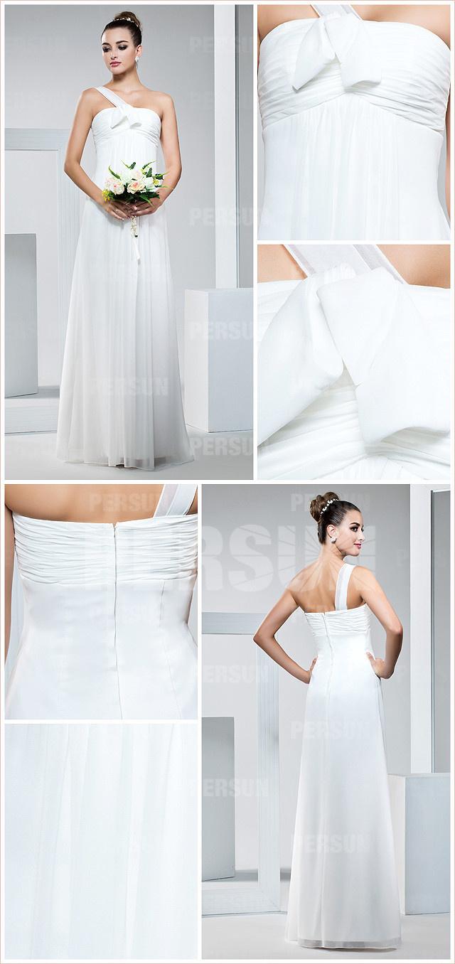 chic allure robe blanche empire à col asymétrique mousseline pour mariage