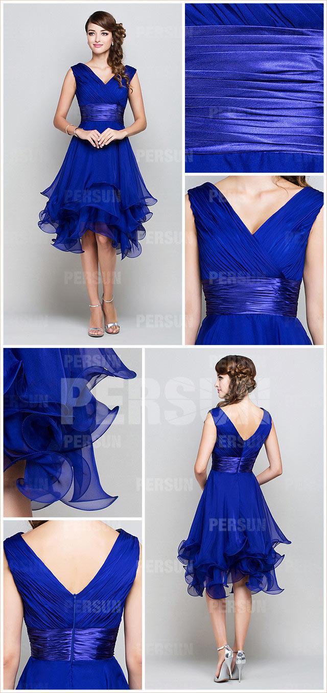 robe de bal évasée courte bleu royal à col en v