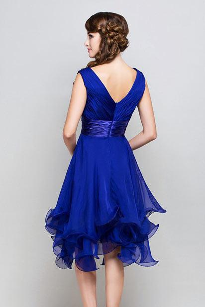 d6923b08e8d Femme robe de cocktail bleu royal col en v en mousseline - Persun.fr