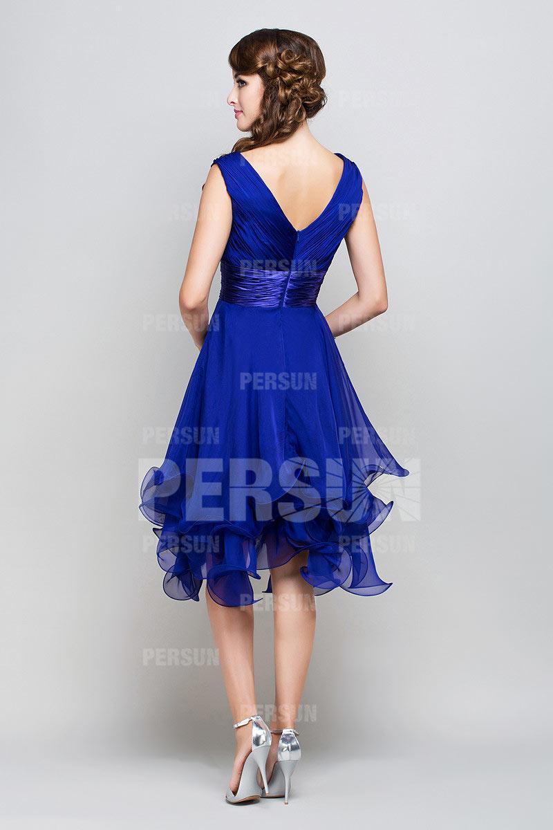 Robe cocktail bleue ceinturée à encolure V courte aux genoux