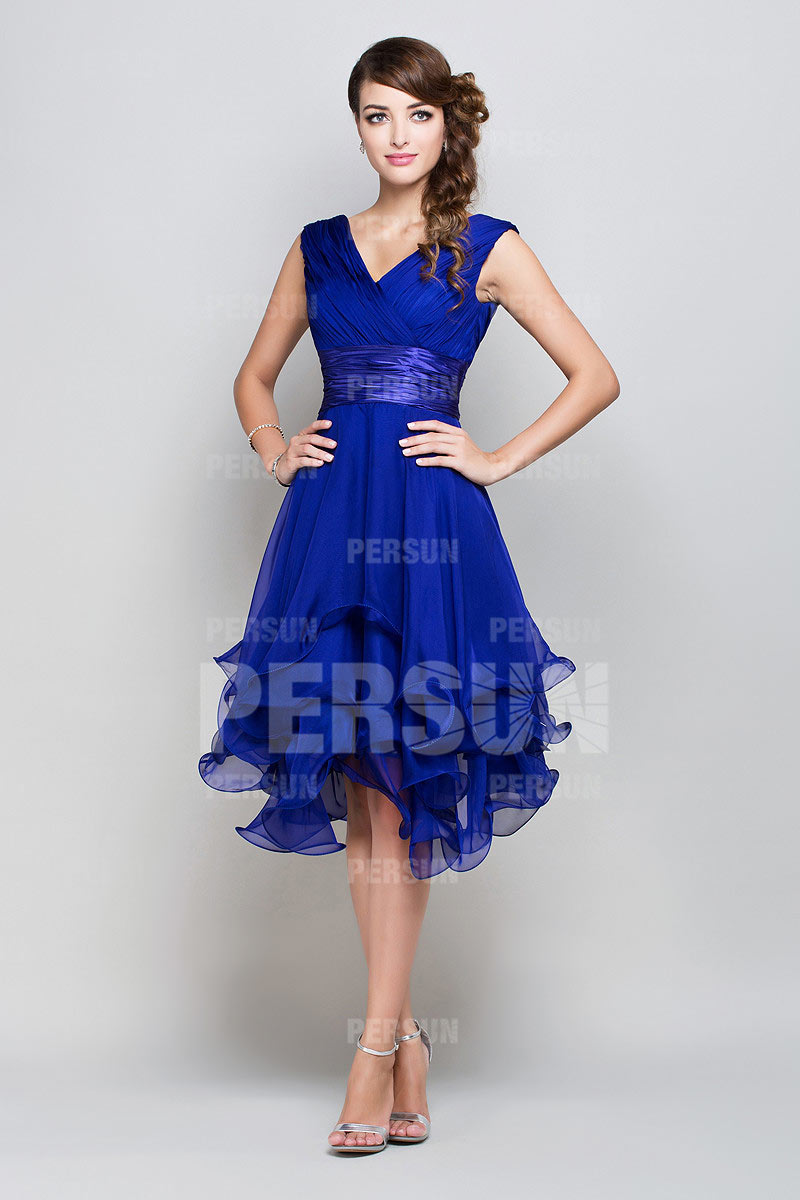 652bb5d1c6c0 Femme robe de cocktail bleu royal col en v en mousseline - Persun.fr