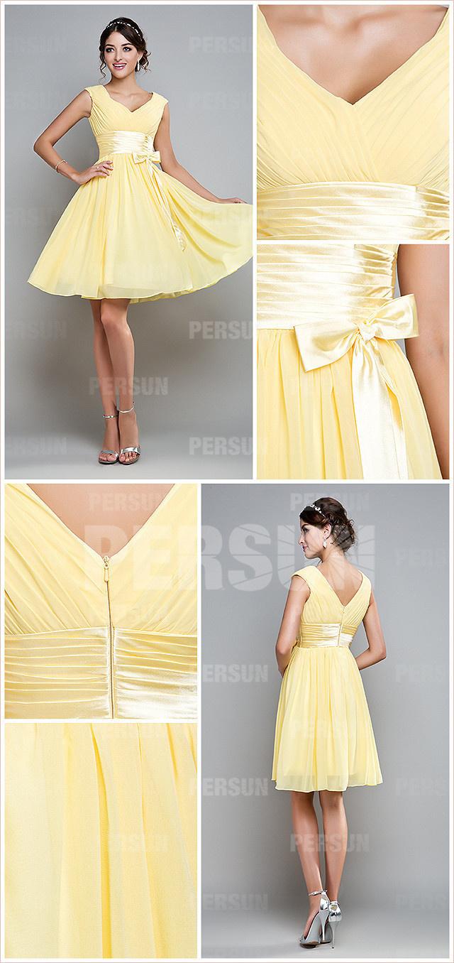 Robe jaune habillée courte col V en mousseline pour témoin mariage