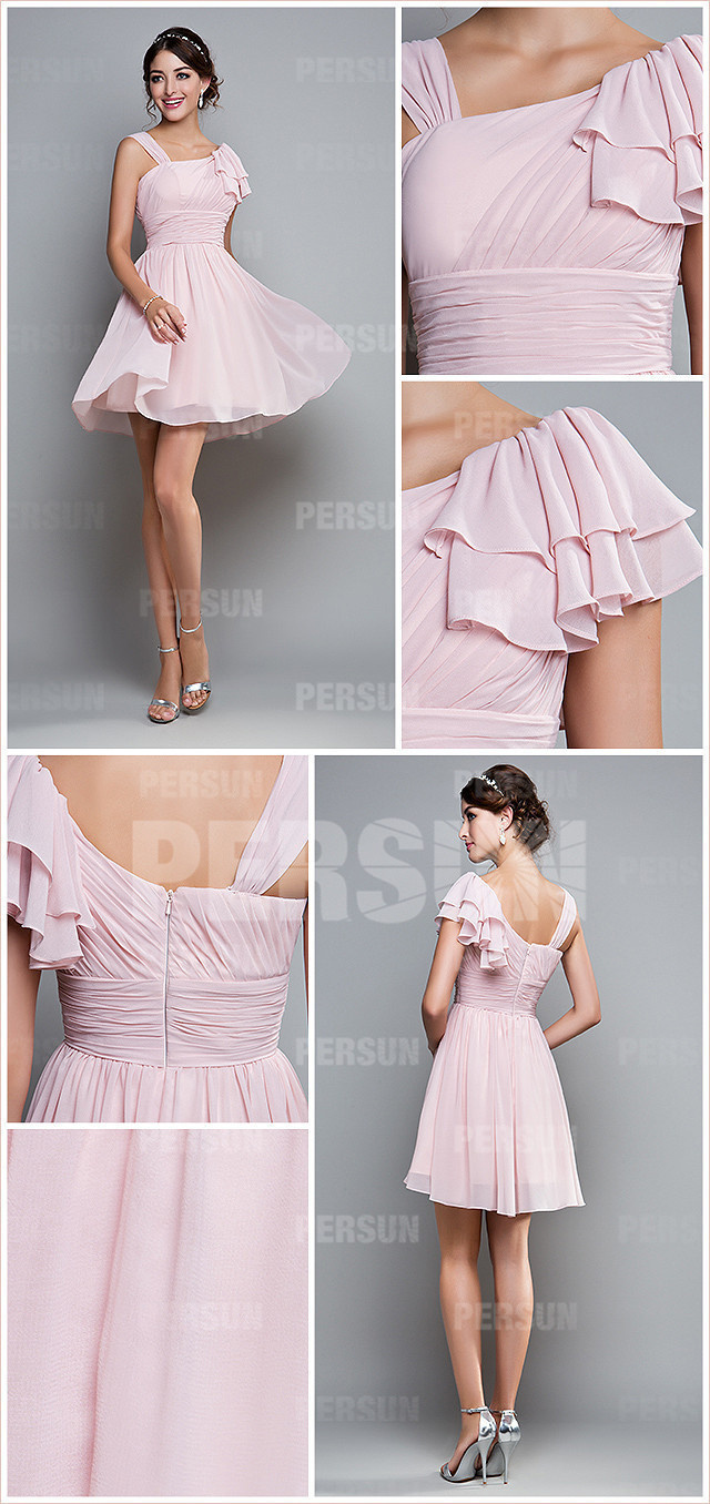 Robe rose plissée chic asymétrique mousseline courte pour demoiselle d'honneur