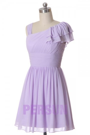 Femme robe de cocktail rose col asymmétrique en mousseline