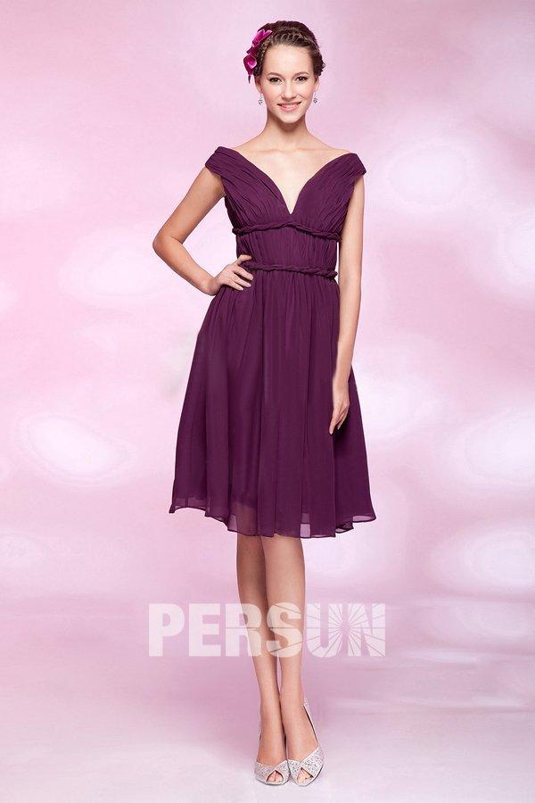 864fb6d4407 Femme robe de cocktail col en v pourpre en mouseline - Persun.fr