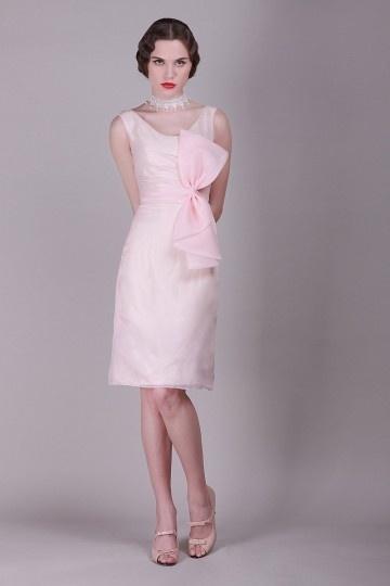 Robe de soirée vintage à nœud paillon en organza rose