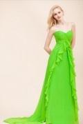 Schlichtes grünes A-Linie Herz-Ausschnitt Abendkleider aus Chiffon
