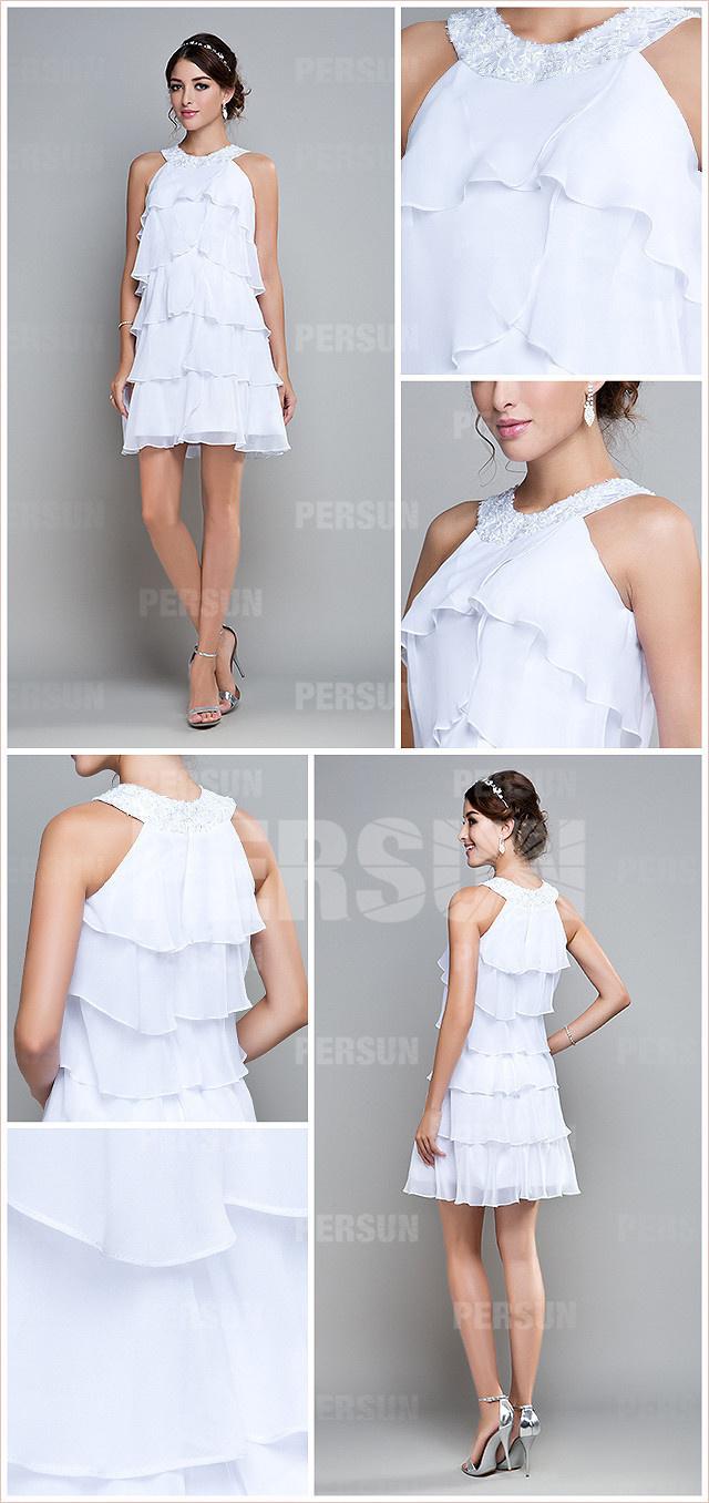 robe de fête blanche courte à cascade volant col orné de perles