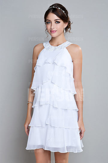 Robe de cocktail à volants en mousseline