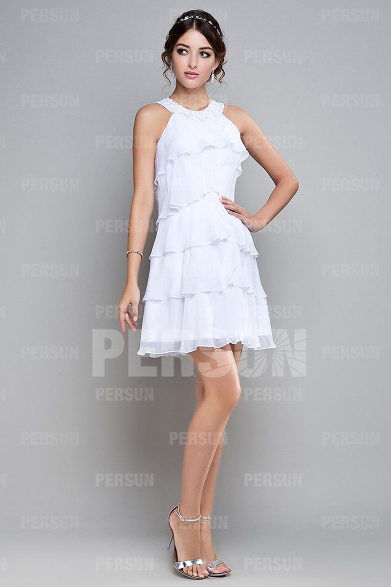 robe blanche courte col strassé à volants