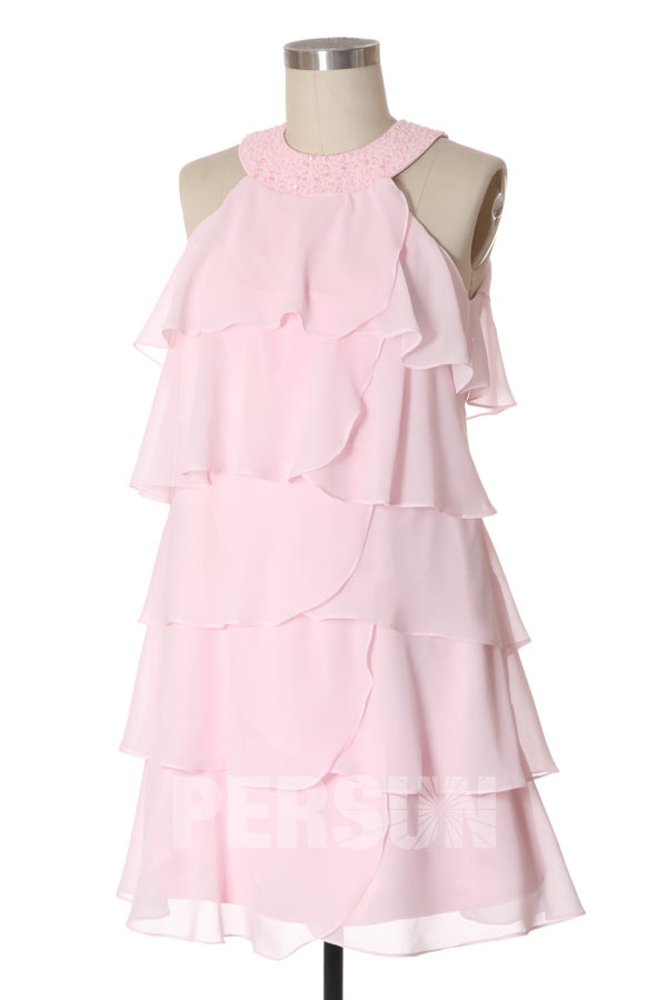 robe de cocktail courte rose col ornée de strass volanté