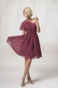 Sexy Ein Schulter A-Linie Knielanges Ärmelloses Abendkleid aus Chiffon