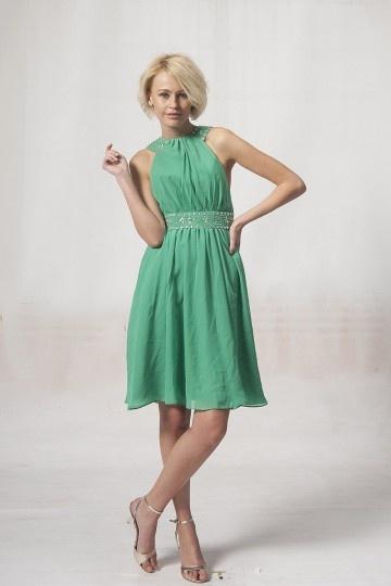 Robe de soirée courte en Mousseline verte au ras des genoux