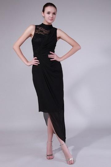 Robe de soirée noire en mousseline en dentelle asymétrique pour gala dîner