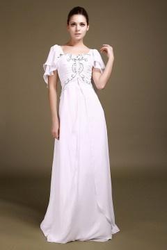 Robe de soirée blanche et longue en Mousseline à mancheron