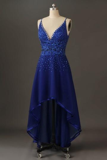 Sexy robe de cocktail de luxe en organza champagne à col V