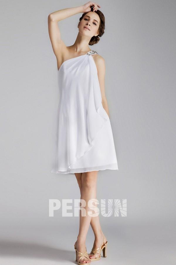 Chic robe de soirée courte rectangulaire en mousseline